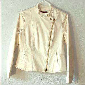 NEW❗️ANN TAYLOR off white motto jacket gold zipper
